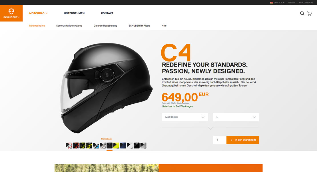 SCHUBERTH Helm-Detailseite E-Commerce